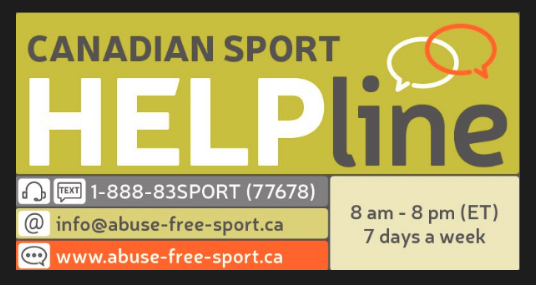 Green and orange badge with contact information for the Canadian Sport Help Line